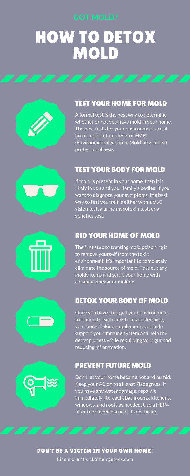 Follow these easy to follow steps to learn how to detox your body from mold.