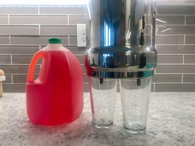 For my Berkey water filter review, I used red-dyed water to test the water filters.